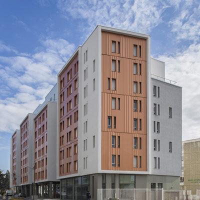 Résidence Crous, Lyon 8. Architecte : HTVS / CROUS OPAC DU RHONE. Maître d'ouvrage : ADIM (groupe VINCI)