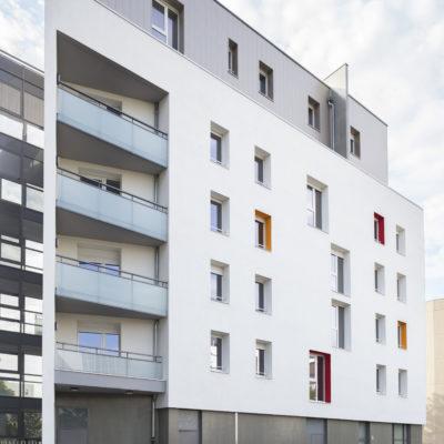 Logement social Mermoz Moselle, Lyon 8. Architecte  : HTVS. Maître d'ouvrage : GRANDLYON HABITAT