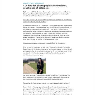"""Interview sur mon travail, mes projets par l'Ecole de Condé. Celle-ci est visible sur leur site dans la rubrique """"actualités""""."""