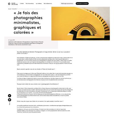 Interview par l'Ecole de Condé. Suite de l'interview sur leur site : https://ecoles-conde.com/actualites/